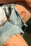 dick poking out from cutoff shorts