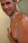 hot guy soaping up in the shower.